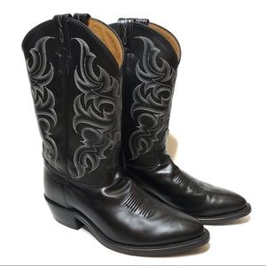 Tony Lama Black Leather Cowboy Boots